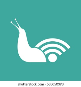 Snail slow internet speed symbol flat design vector illustration