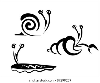 snail, slug and hermit crab collection of symbols