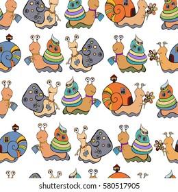 Snails pattern. Cartoon snail. Seamless background.