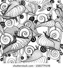 Snails and plants, leaves. Seamless black and white pattern. Drawn by hand. Vector art illustration