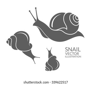 Snails. Vector illustration. Abstract snails on white background