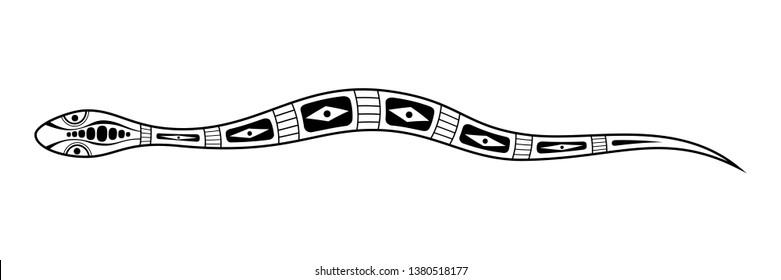 Snake. Aboriginal art style. Tatoo. Black and white logo. Vector monochrome illustration isolated on white background.