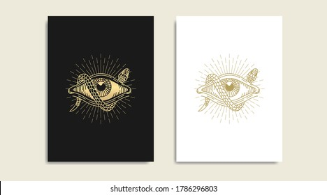 Snake with All seeing eye, symbol of the Masons, eye and  gold logo, spiritual guidance tarot reader design. engraving, decorative illustration tattoo