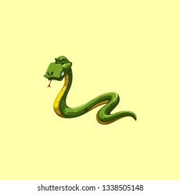Snake artwork in yellow background
