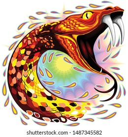 Snake Attack Psychedelic Art Vector Illustration