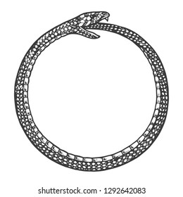Snake bites itself engraving vector illustration. Scratch board style imitation. Black and white hand drawn image.
