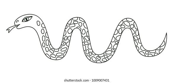 Snake black and white outline vector illustration