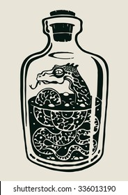 A snake in the bottle of alcohol. design elements. vector illustration.