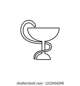 Snake with a bowl icon. Simple outline vector of medicine set for UI and UX, website or mobile application