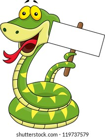 Snake cartoon holding blank sign