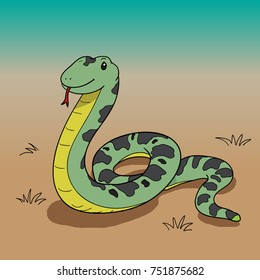 snake cartoon vector drawn