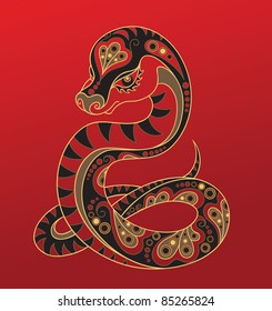 Snake - Chinese horoscope animal sign.  The vector art image in decorative style