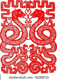 SNAKE Chinese Zodiac Sign in paper cutting style (Vector)