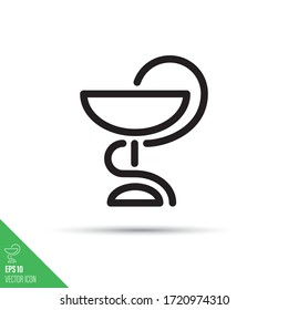 Snake and cup minimalist pharmacy symbol. Hygieia line icon. Medical and health care simple vector.