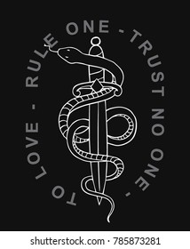Snake with dagger vector illustraion for t-shirt and other uses