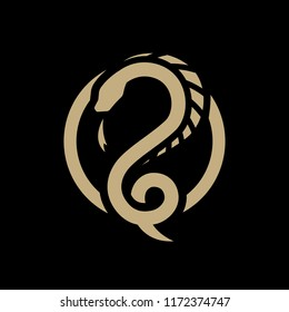 Snake dragon, round logo, symbol on a dark background.