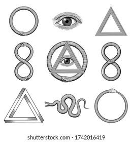 Snake, Eye, Penrose triangle Uroboros illustrations in a vintage style