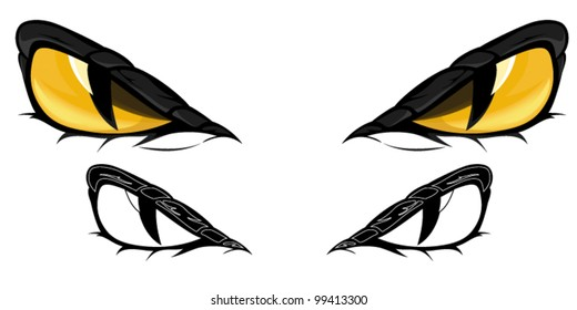 snake eyes vector illustration - in color and monochrome