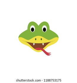 Snake face in cartoon style for children. Animal Faces Vector illustration Series