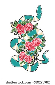 snake and flowers patch 2