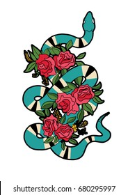 snake and flowers patch