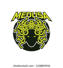 snake hair or medusa logo for your business, vector illustration