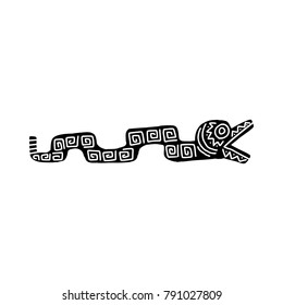 Snake icon with Aztec patterns isolated on white background