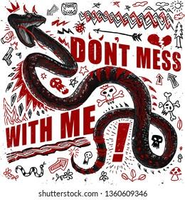 snake illustration comic doodles textile print t shirt graphic design