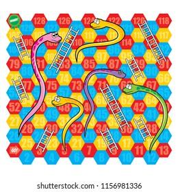 Snake and Ladder Board Game Vector Set