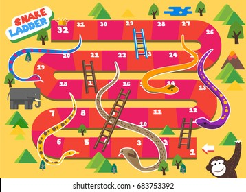 Snake and Ladder boardgame is fun for kid. vector illustration