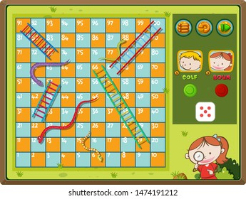 Snake and ladder game with boy and girl in background illustration
