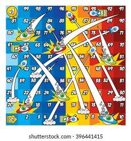 Snake and Ladder Game - Rocket and Flying Saucer Version