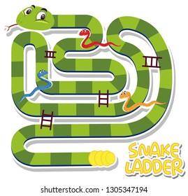 Snake ladder game template illustration