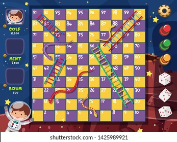 A snake ladder game template illustration