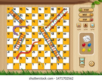 Snake and ladder game with tree and grass background illustration