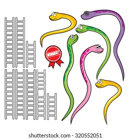 Snake and ladder set. a set of equipment to make a game of snakes and ladders. several colorful snakes and ladders range of sizes