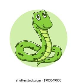 Snake Mascot Logo. Viper Animal Symbol Icon Character Element. Reptile Wildlife Vector Illustration. Anaconda and Python Cartoon Character