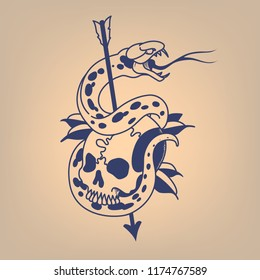 Snake on a skull pierced with an arrow. Traditional tattoo.