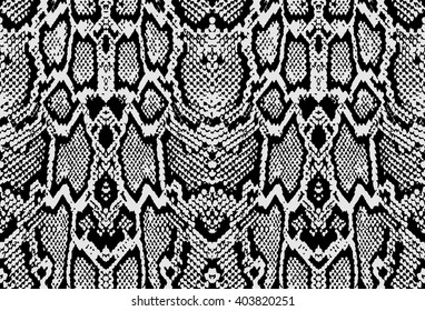 Snake python skin texture. Seamless pattern black on white background