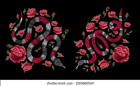 snake and red roses. Traditional stylish floral embroidery stitch on a black background. Sketch for printing on fabric, clothing, bag, accessories and design. Vector, trend