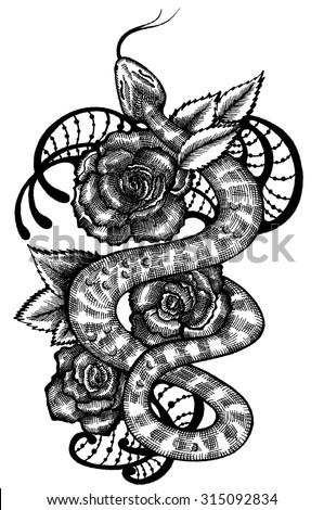 Snake Snake Roses Snake Tattoo