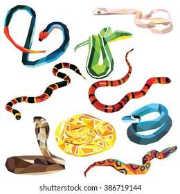 Snake set of colorful low poly designs isolated on white background.