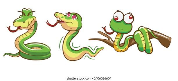 Snake set vector graphic design