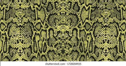 Snake skin pattern and repeating Seamless. Animal print and textile design. Green neon shades, vector illustration. Texture snake. Fashionable print.