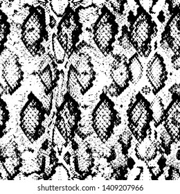 Snake skin scales texture. Seamless pattern black white background. simple ornament, fashion print and trend of the season Can be used for Gift wrap, fabrics, wallpapers. Vector