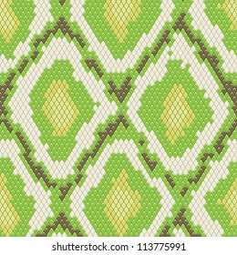 Snake skin seamless pattern with green color