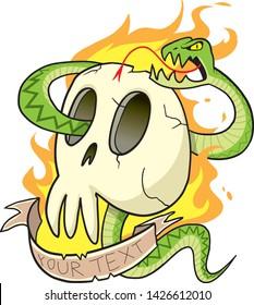 Snake Skull Cartoon Tattoo Design. Green viper snake wraps around a flaming skull. Fiill in custom text on the backround. Cartoon snake and human skull with burning fire illustration.