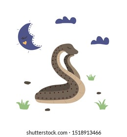 Snake sleeping to night. Moon in sky, nighttime, clouds. Sweet dreans. Vector illustration.