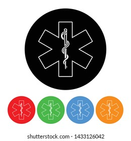 Snake and staff icon with an outline style in a black circle vector rod of asclepius illustration health emergency response sign symbol with four color variations isolated on a white background