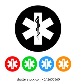 Snake and Staff Rod of Asclepius Medical Icon